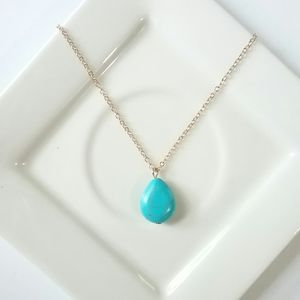 Gold & Turquoise Simple Pendant Drop Necklace